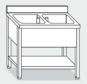 LT1160 Lavatoio su Gambe con ripiano in acciaio inox 2 vasche alzatina ripiano 100x70x85