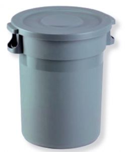 T114100 Grey Plastic Waste bin 80 liters with lid