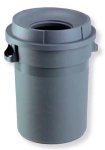 T114110 Grey Plastic Waste bin 80 liters with funnel shaped lid