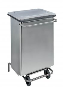 T790660 Stainless steel Wheeled pedal waste bin 70 liters