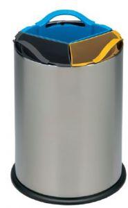 T110560 Papelera selectiva triple acero inox con 3 cubos de polipropileno 3x4 litros