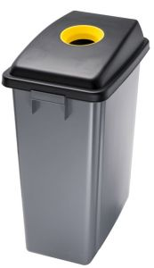 T114206 Waste bin with yellow upper opening lid