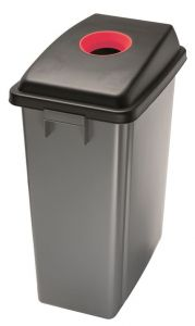 T114207 Waste bin with red upper opening lid
