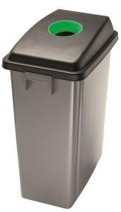 T114208 Waste bin with green upper opening lid