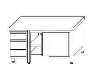 TA4035 Tavolo armadio in acciaio inox con porte su un lato e cassettiera SX 240x60x85