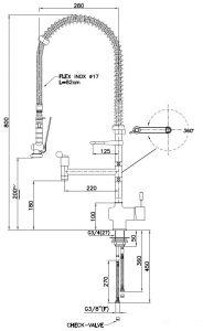 KL2220 Gruppo doccia PROFESSIONALE da banco monocomando leva NERO