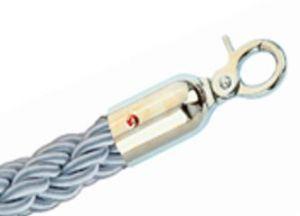 T106321 Cuerda gris 2 mosquetones de fijación cromadas para poste separador 1,5 m