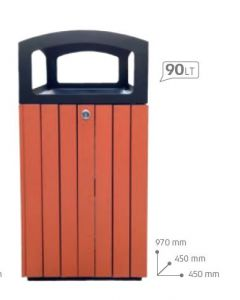 T110511 Gettacarte quadrato da esterno  90 litri
