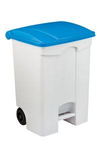 T115075 Contenitore mobile a pedale in plastica bianco coperchio blu 70 litri (multipli 3 pz)