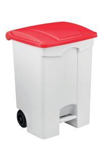 T115077 Contenitore mobile a pedale in plastica bianco coperchio rosso 70 litri (multipli 3 pz)