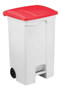 T115097 Contenitore mobile a pedale in plastica bianco coperchio rosso 90 litri (multipli 3 pz)