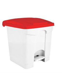 T115307 Pattumiera a pedale in plastica Bianca coperchio Rosso 30 litri (multipli 3 pz)