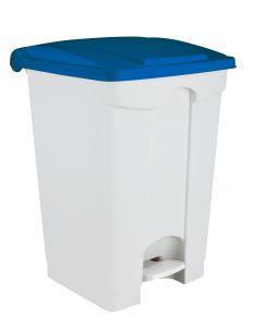 T115705 Pattumiera a pedale in plastica Bianca coperchio Blu 70 litri (multipli 3 pz)