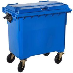 T766640 Grey Plastic waste container for outdoor on 4 wheels 660 liters