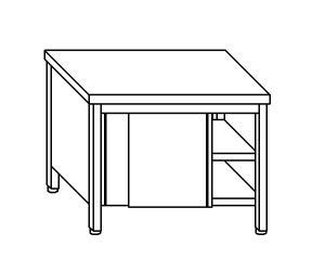 TA4073 Tavolo armadio in acciaio inox con porte su un lato 100x70x85