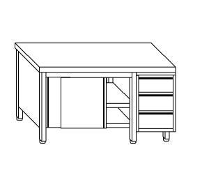 TA4094 Tavolo armadio in acciaio inox con porte su un lato e cassettiera DX 240x70x85