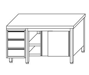 TA4103 Tavolo armadio in acciaio inox con porte su un lato e cassettiera SX 220x70x85