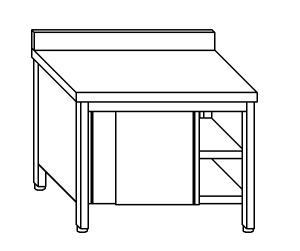 TA4117 Tavolo armadio in acciaio inox con porte su un lato con alzatina 190x70x85