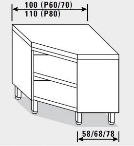 13500.10 Tavolo armadio g40 ad angolo cm 100x70x85h piano liscio - a giorno