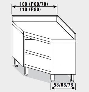 13502.10 Tavolo armadio g40 ad angolo cm 100x70x85h piano liscio - porta a battente