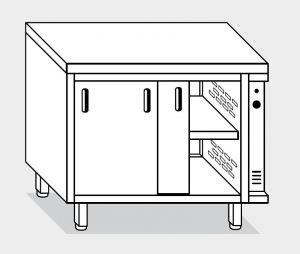 13600.14 Tavolo armadio caldo g40 cm 140x60x85h piano liscio - porte scorrevoli
