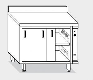 13601.10 Tavolo armadio caldo g40 cm 100x60x85h alzatina posteriore - porte scorrevoli