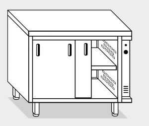 13702.19 Tavolo armadio caldo g40 cm 190x70x85h piano liscio - porte su due lati- 2 unita' calde
