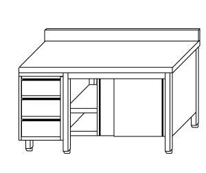 TA4135 Tavolo armadio in acciaio inox con porte su un lato, alzatina e cassettiera SX 190x70x85