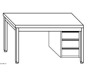 TL5018 Tavolo da lavoro in acciaio inox AISI 304 cassettiera dx 60x60x85