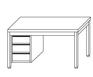 TL5046 Tavolo da lavoro in acciaio inox AISI 304 cassettiera sx ripiano 180x60x85