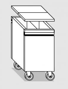18078.97 Tramoggia carrellata passante con divisorio da cm 45x78x76h completa di coperchio