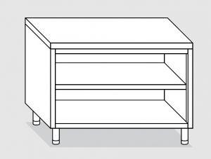 23000.19 Tavolo armadio a giorno agi cm 190x60x85h piano liscio - ripiano intermedio e di fondo