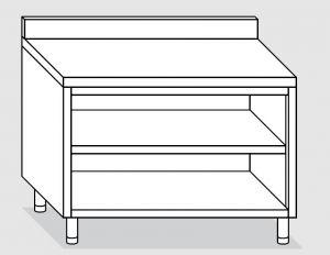 23001.19 Tavolo armadio a giorno agi cm 190x60x85h alzatina posteriore -ripiano intermedio e di fondo