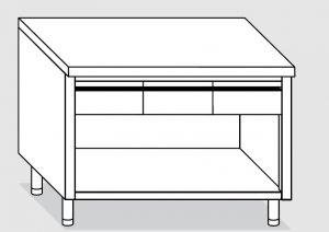 23003.17 Tavolo armadio a giorno agi cm 170x60x85h piano liscio - 4 cassetti orizzontali
