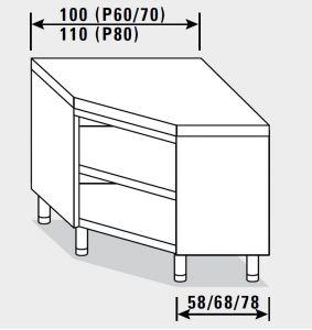 23400.10 Tavolo armadio agi ad angolo cm 100x60x85h piano liscio - a giorno