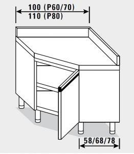23507.11 Tavolo armadio agi ad angolo cm 110x80x85h alzatina posteriore - porta a battente
