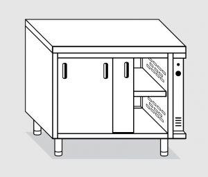 23600.14 Tavolo armadio caldo agi cm 140x60x85h piano liscio - porte scorrevoli