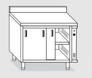 23601.15 Tavolo armadio caldo agi cm 150x60x85h alzatina posteriore - porte scorrevoli
