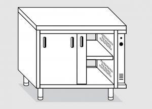 23702.19 Tavolo armadio caldo agi cm 190x70x85h piano liscio - porte su due lati- 2 unita' calde