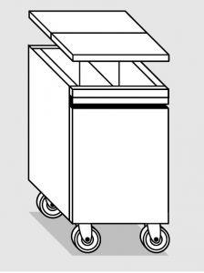 28078.45 Tramoggia carrellata con divisorio da cm 45x55x76h completa di coperchio