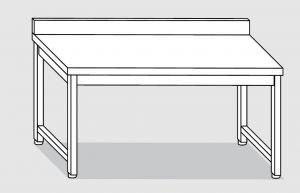 30001.22 Tavolo su 4 gambe past cm 220x80x85h alzatina posteriore-senza ripiano inferiore