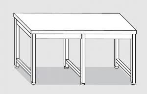 30100.24 Tavolo su 6 gambe past cm 240x90x85h piano liscio-senza ripiano inferiore