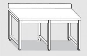 30101.34 Tavolo su 6 gambe past cm 340x90x85h alzatina posteriore-senza ripiano inferiore
